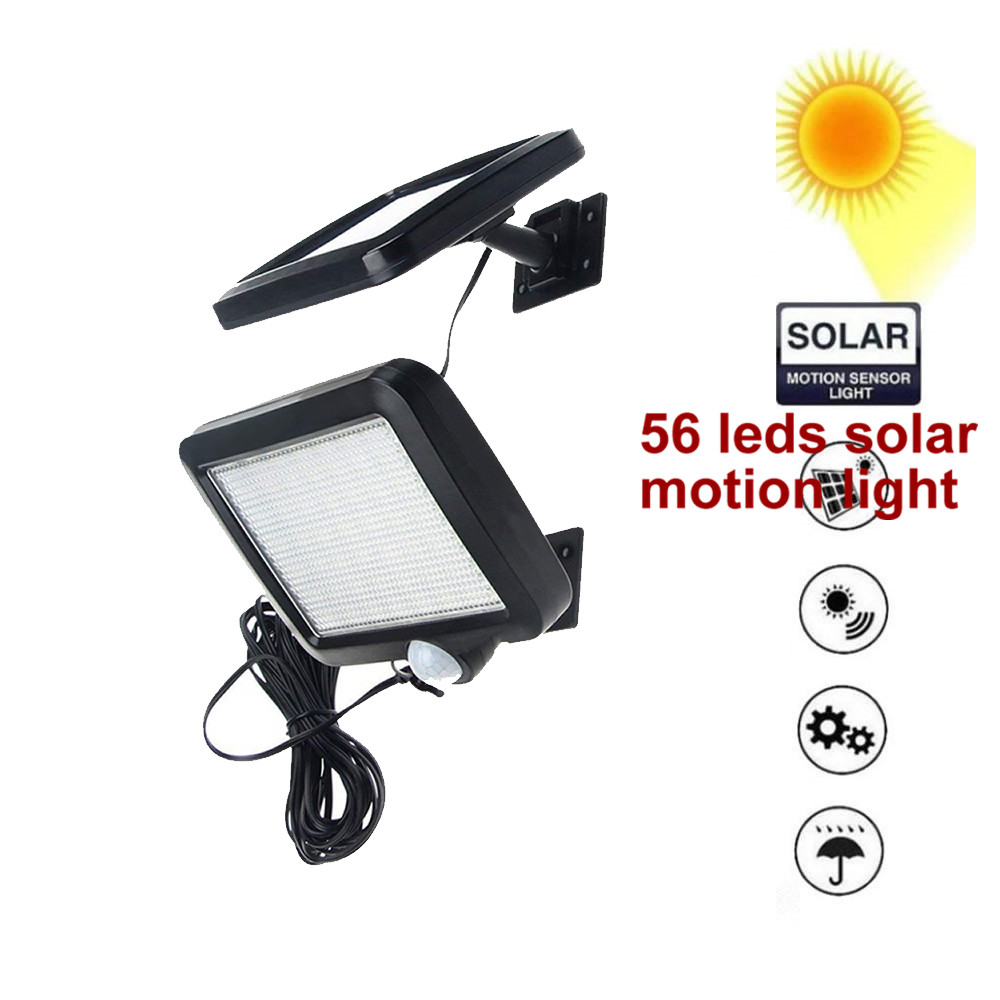 56 Leds Solar Light Detachable Panel Waterproof IP65 Motion Sensor For Yard Lawn Patio Lantern Security Emergency Spot Lamp 5M