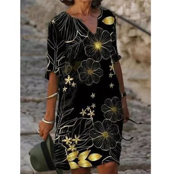 Half Sleeved V Neck Printed Loose Dress Women's Fashion Casual Vintage Spring Autumn All-match Plus Size Beach Dresses Vestidos 5