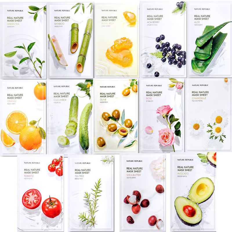 Nature Republic Real Nature Mask Sheet 23ml Acne Treatment Mask Face Care Whitening Anti Wrinkle Facial Mask Korea Cosmetics