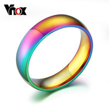6mm Wide Gay Pride Rings Jewelry  Rainbow color wedding rings for women and  men  wholesale stainless steel ring Vnox R-105 wholesale 20 pieces mix stainless steel ring jewelry dragon heart statement wedding rings for women men gift