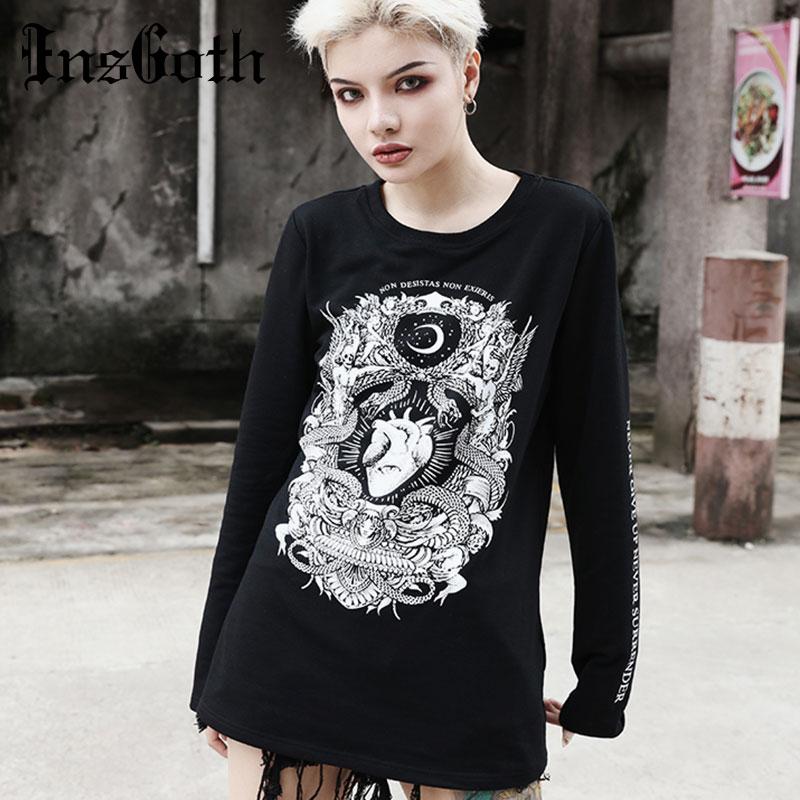 InsGoth Women Hoodie Autumn Thin Pullover Gothic Demon Printed Hoodies Sweartshirt Halloween Fashion Streetwear Female Black Top