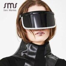 Fashion Diamond Oversized Mirror Sunglasses Women Men 2019 Luxury Big Frame Mask Rhinestone Eye Protection Black Glasses Uv400