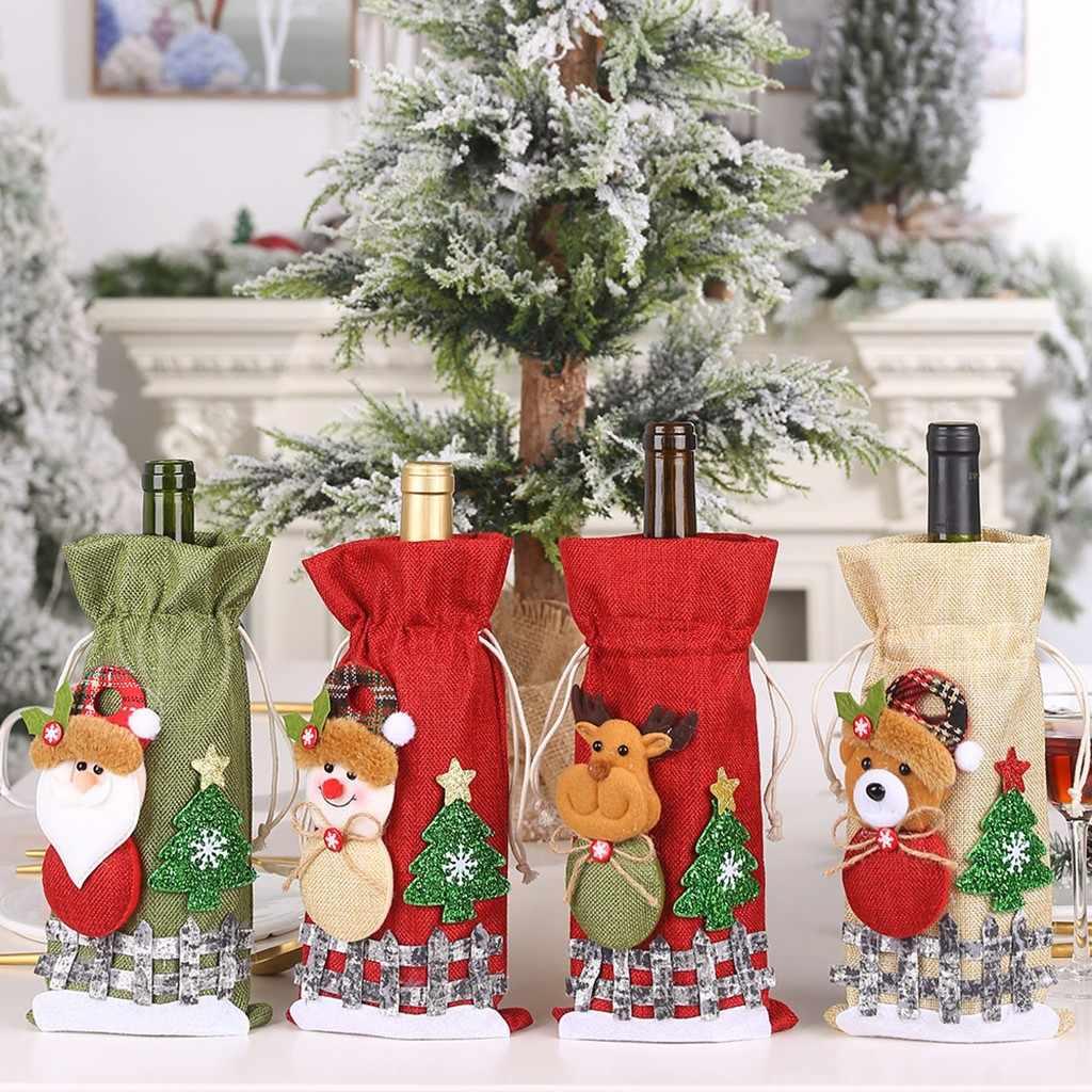 החג שמח סנטה יין בקבוק תיק כיסוי חג המולד פסטיבל מסיבת שולחן תפאורה מתנת חג המולד קישוט לבית נופש השנה החדשה