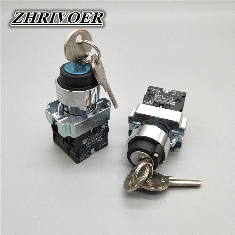 22mm XB2-BG33/XB2-BG21 3 Position/2 Position Key Select Button Switch NO/NC Metal Knob Switch Rotary Switch