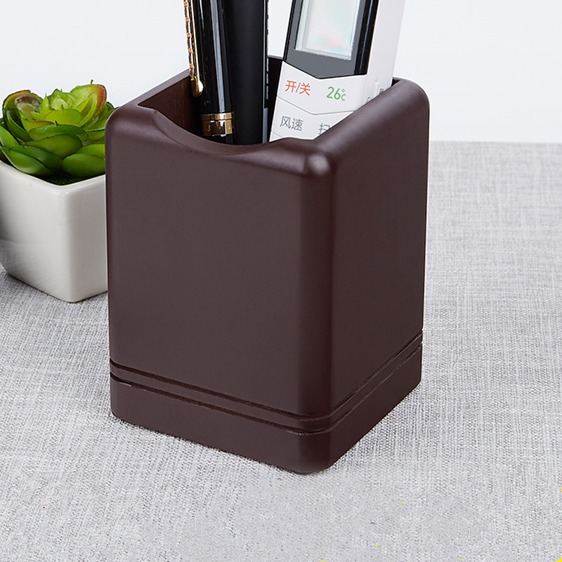 Multifunction Brown Wooden Pen Holder Square Container Wood Office Desk Organizer Pen Pencil Holder Storage Box Office Supplies
