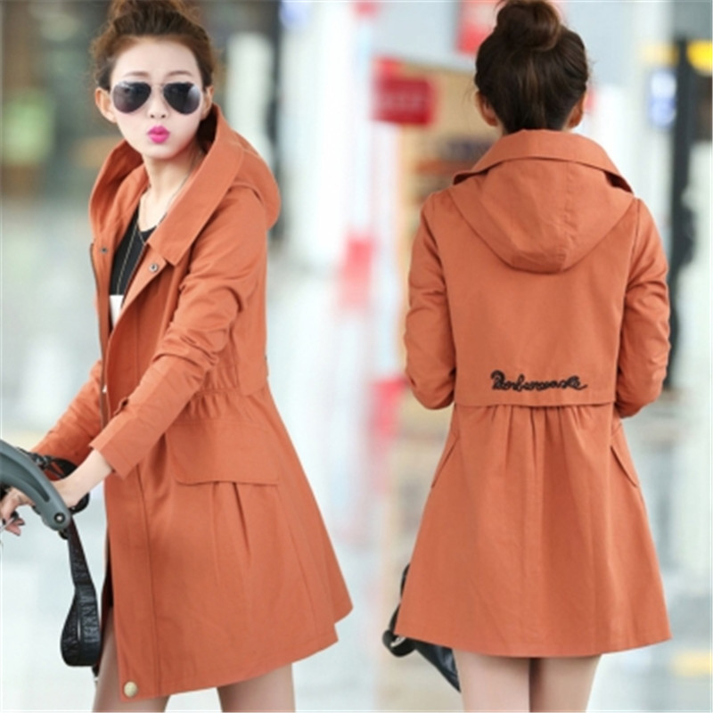 2019 Spring Autumn   Trench   Coat Women Casual Plus Size 4XL Hooded Long Windbreaker Coats Ladies Korean Full Sleeve Slim OverCoat