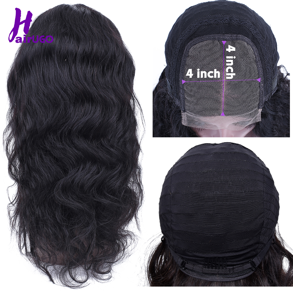 Malaysian Hair 4*4 Lace Closure Wig Body Wave Remy Lace Closure Human Hair HairUGo Lace Wig For Black Women Pre Plucked Hairline