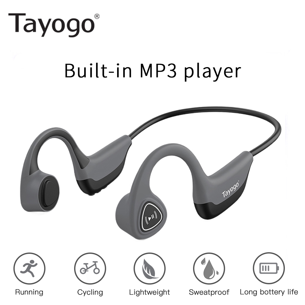 Tayogo S3 Fashion Bone Conduction Mp3 Player 8GB For Sports Sweat Proof Ear-hook Long Battery With Shuffle Feature