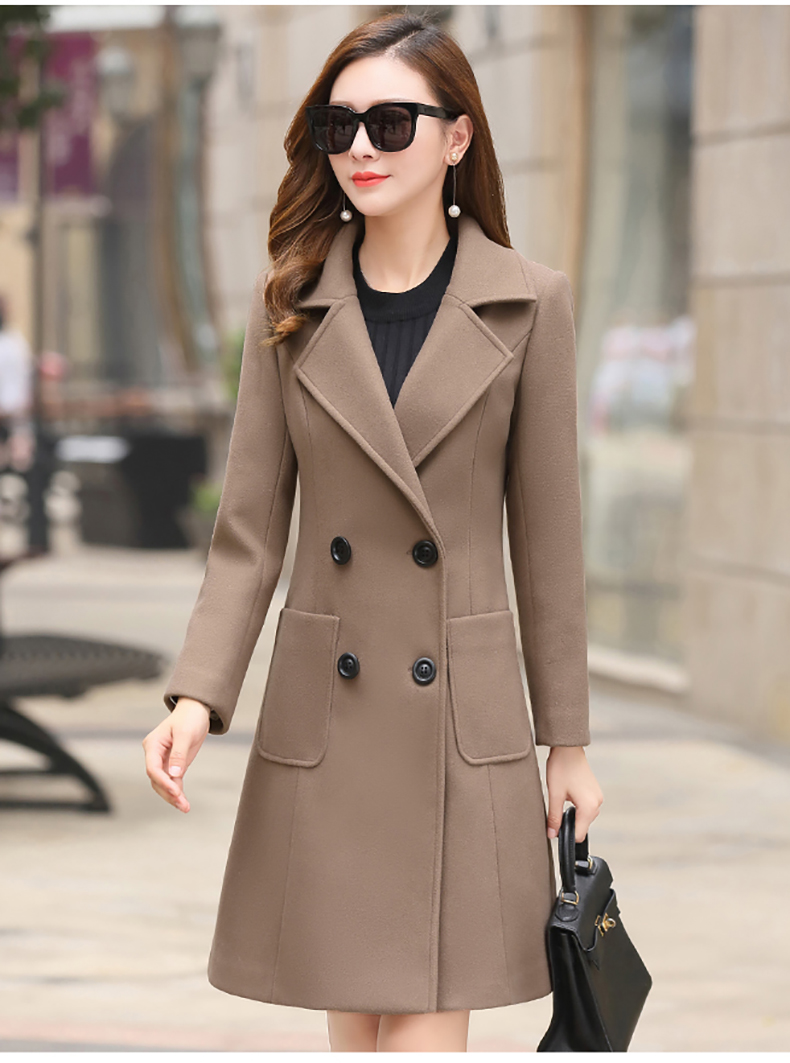 Woolen Women Jacket Coat Long Slim Blend Outerwear 2019 New Autumn Winter Wear Overcoat Female Ladies Wool Coats Jacket Clothes 11
