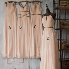 Summer New Scoop Neckline Long Bridesmaid Dresses 2015 Beach Pleated Chiffon with Ribbons A-line Beach Wedding Party Dress Hot(China)