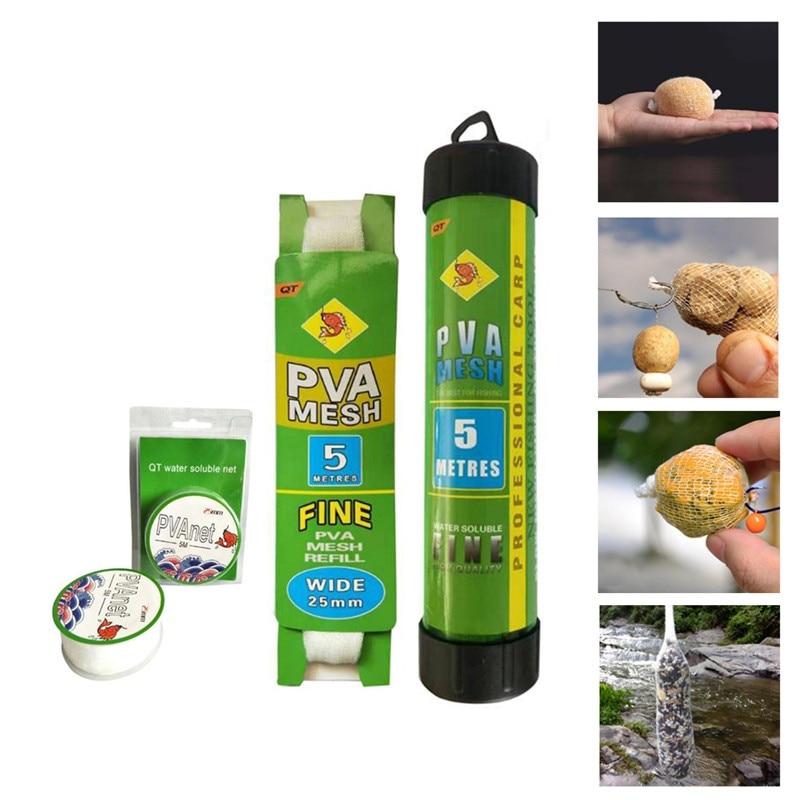 5M PVA Fishing Net Network Refill Stocking Bait Dissolving Multifilament Mesh Fishing Thrower Bag Water Feeder