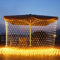 LED ağ örgü ışıkları, 3x 2M/ 6x4M su geçirmez dize ışıkları açık asılı peri dize fiş için parti, bahçe dekor ışıkları