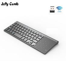 Jelly Comb 2.4G Wireless Keyboard with Number Touchpad Mouse Thin Numeric Keypad for Android Windows Desktop Laptop PC TV Box