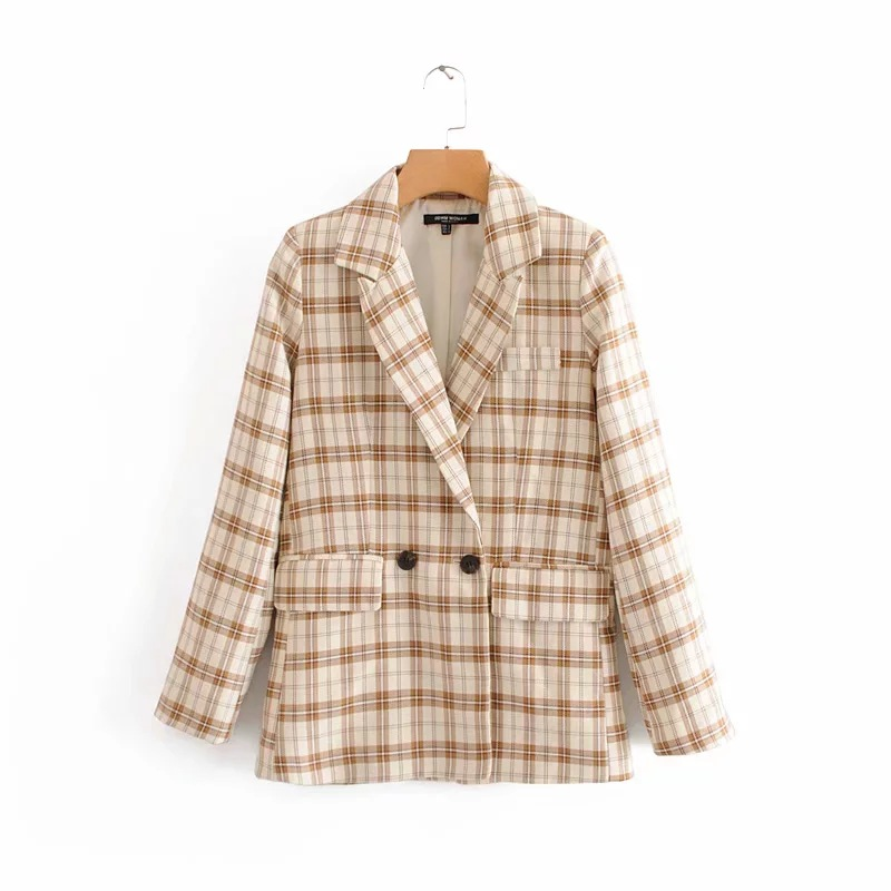 Fashion vintage check women's jacket suit 2019 autumn new double-breasted long-sleeved plaid ladies blazer Office suit female