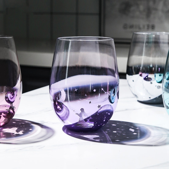 Creative Glass Water Cup Starry Sky Wish Cup Fantasy Girls' Favorite Juice Milk Tea Egg-Shaped Cup Wine Glass Heat Resistant