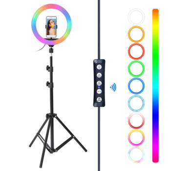 10 Cal RGB LED Selfie pierścień wypełnić światło z stojak trójnóg fotografia ściemniana obręcz lampa dla TikTok Youtube makijaż światła filmowe tanie i dobre opinie Fotulato CN (pochodzenie) Bi-color 3200 K-5600 K