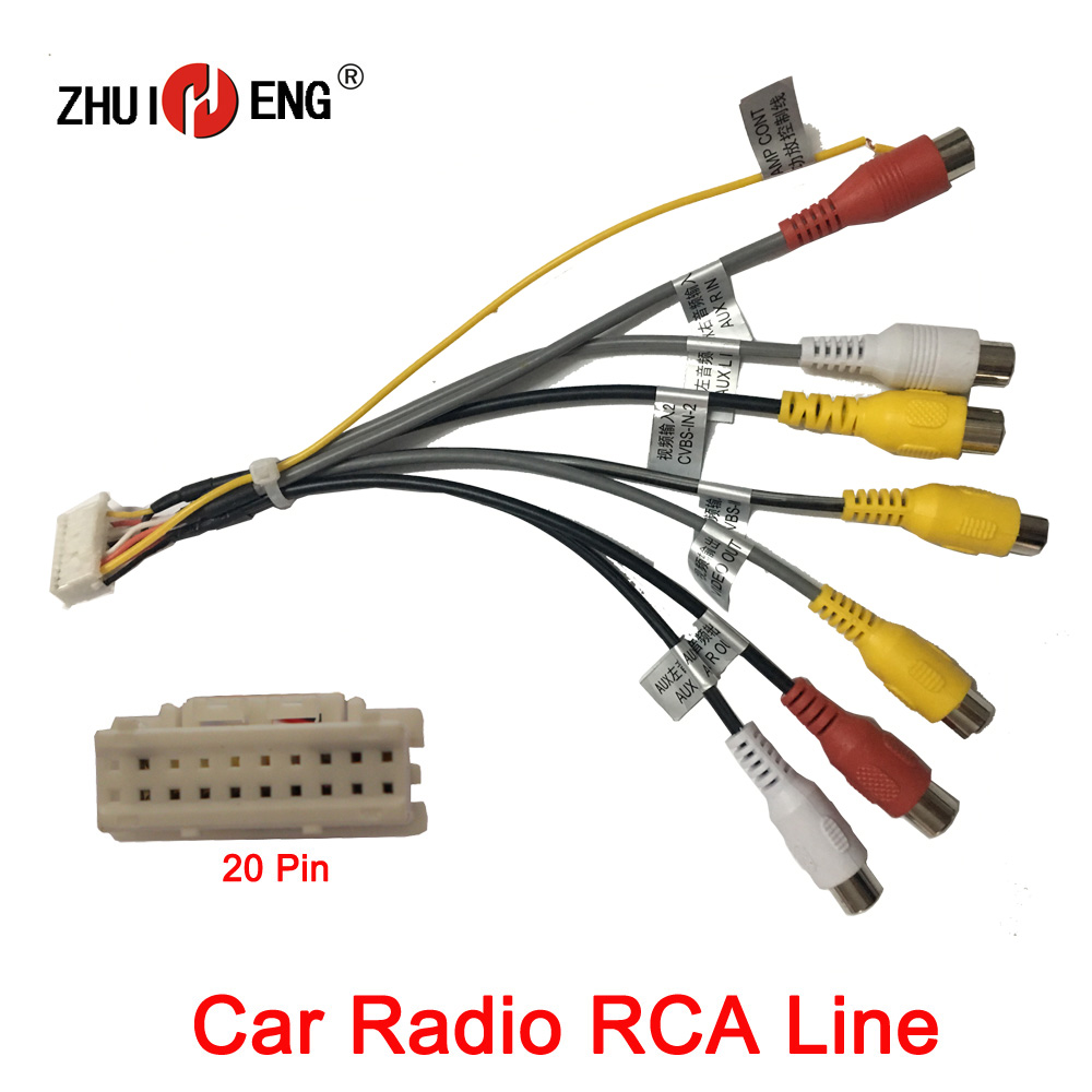 ZHUIHENG 20 Pin Plug Car Stereo Radio RCA Output AUX Wire Harness Wiring Connector Adaptor subwoofer USB,CAMERA,GPS Antenna(China)