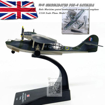 AMER 1/144 Scale Military Model Toys RAF 1941 Consolidated PBY-5 Catalina Seaplane Bomber Diecast Metal Plane Model Toy For Gift wltk 1 144 scale military model toys ty 95 tu 95 bear bomber diecast metal plane model toy for collection gift kids