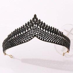 KMVEXO Baroque Black Korean Crystal Bridal Tiaras Crowns Pageant Prom Diadem Rhinestone Veil Tiara Headband Wedding Hair Jewelry