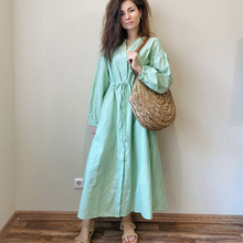 2020 Spring Summer Women Boho Long sleeve Maxi Long dress Lantern sleeve Oversiz