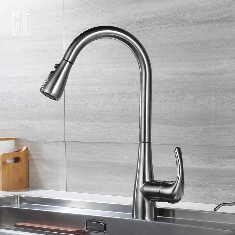 キッチン水栓デッキ 304SUS キッチンシンクの蛇口ホットコールドミキサータップ起毛ウォータータップシングルハンドル