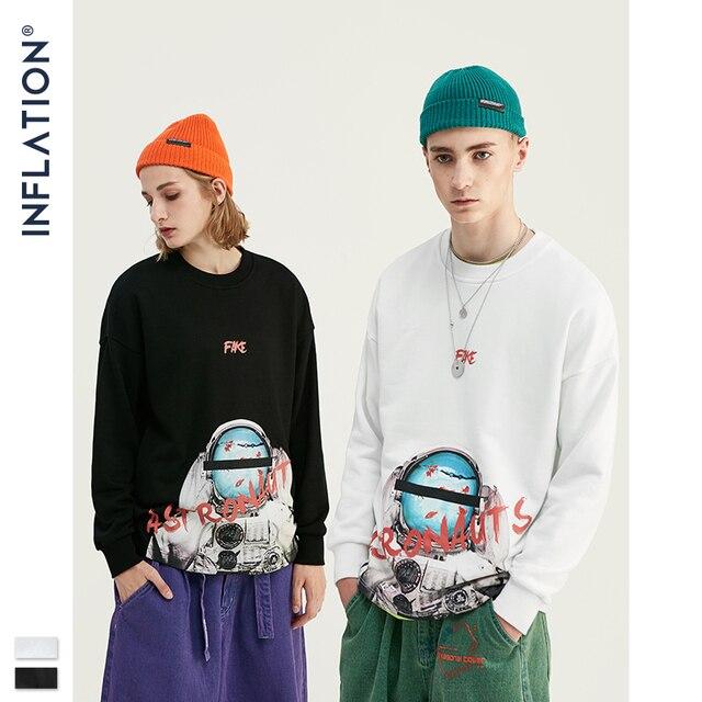 INFLATION ASTRONAUTEN Drucken Raum Elemente Fleece Männer Sweatshirt In Weiß Und Schwarz Männer Lose Fit Streetwear Männer Sweatshirt 9621W
