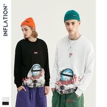 INFLATION ASTRONAUTS Print Space Elements Fleece Men Sweatshirt In White And BLack Men Loose Fit Streetwear Men Sweatshirt 9621W