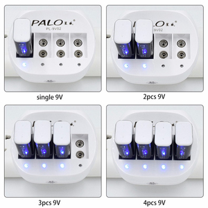Image 3 - Palo Super Quick Power 4 slots 9V Battery Charger for 9v 6f22 Li ion rechargeable battery LED display Smart Charge
