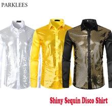 قميص رجالي ذهبي لامع بالترتر من الحرير والساتان بأكمام طويلة وزر أسفل 70s لحفلات الديسكو شيميز للراقصين أزياء المطربين