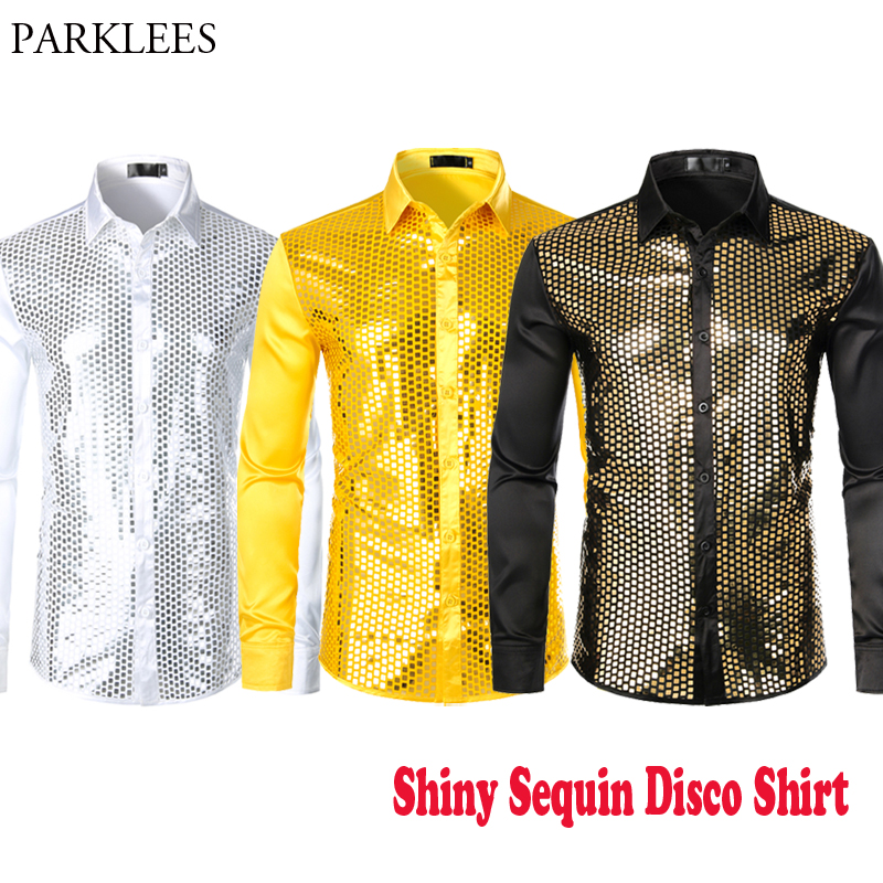 Men's Gold Sparkle Sequin Silk Satin Shirts Long Sleeve Button Down 70s Disco Party Prom Chemise Homme Dancers Singers Costume