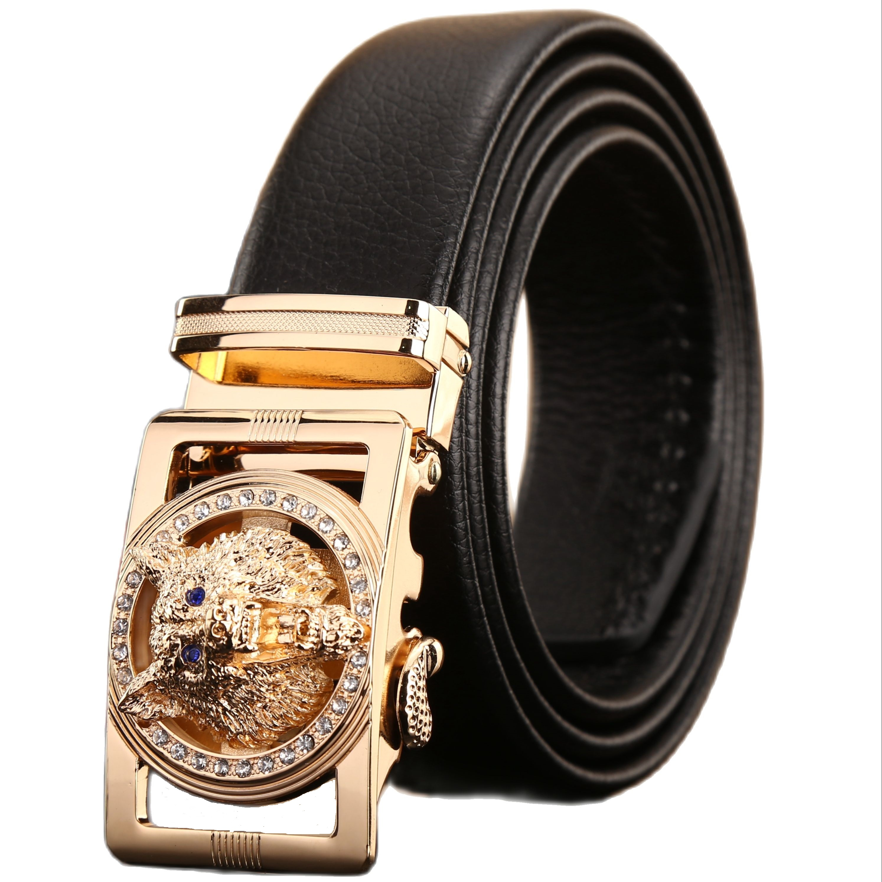 2022 new designer belts men high quality luxury fiber leather big size 140 cm 150 160 automatic buckle wolf 170 180 plus brown
