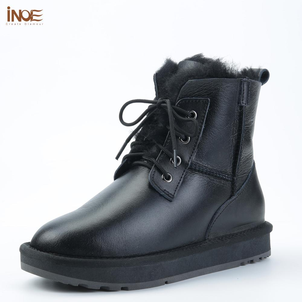 INOE Sheepskin Leather Wool Fur Lined Men Lace-Up Short Ankle Winter Snow Boots For Man Casual Shoes Waterproof Black Brown Grey