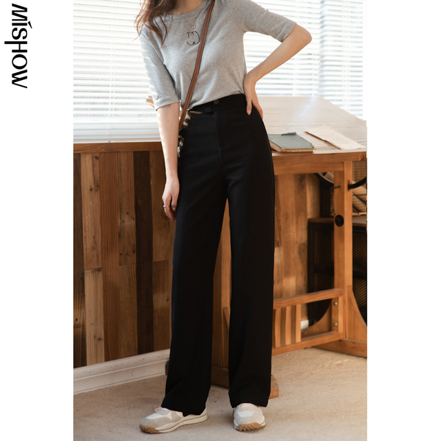 MISHOW 2020 Spring Pants For Women Elastic Solid High Waist Loose Straight Streetwear Fashion Female Trousers MX21A2673 6