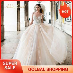 Image 1 - Ashley Carol Backless Appliques A Line Wedding Dress 2020 Beaded V neckline Sleeveless Chapel Train Bridal Gown Vestido de Novia