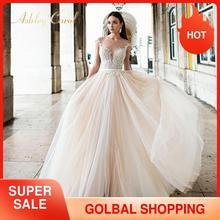 アシュリーキャロルバックレスアップリケaラインのウェディングドレス2020ビーズvネックノースリーブチャペルの列車の花嫁衣装vestidoデ · ノビア