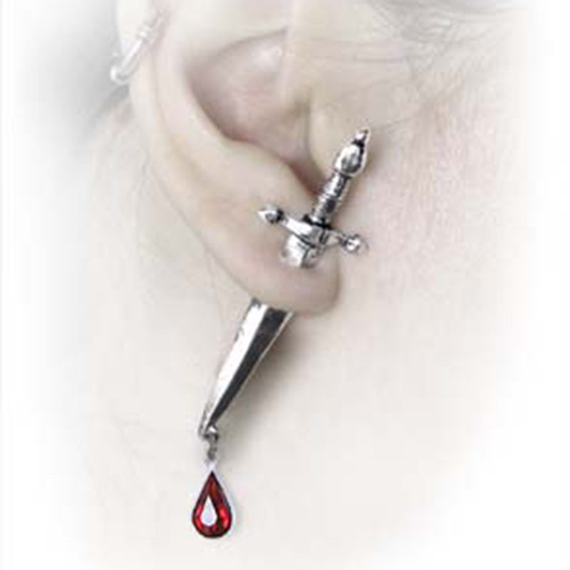 Gothic Sword 3d Earrings For Women And Women With Red Crystal Cesare's Veto