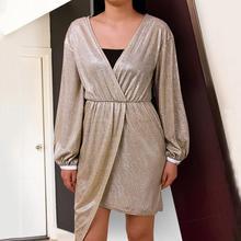 BIUBIU Party Dresses Women Evening 2019 Long Sleeve Deep V Shining Mini Gown Womens Club Vestidos Female Silver Gold