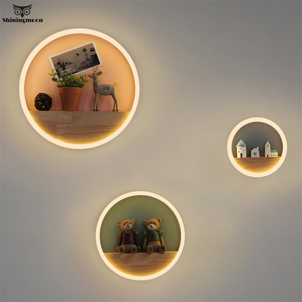 Nordique mur LED lampes moderne acrylique matériel café barre applique murale rond salon décor à la maison maquillage salle de bain applique murale lampe
