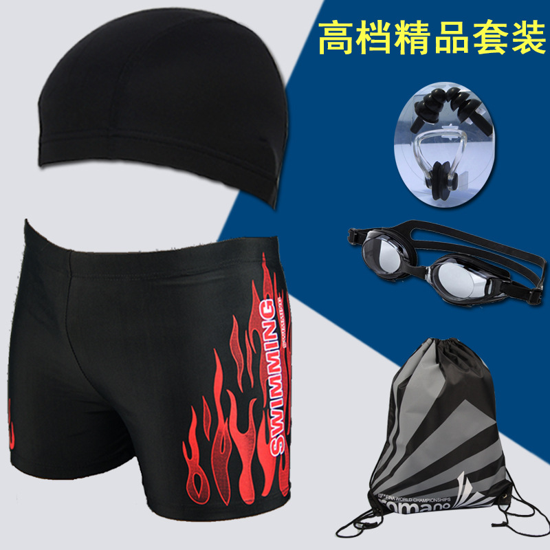 2019 New Products Men Fashion Man Boxer Swimming Trunks + Swim Cap + Goggles + Swimming Bag + Nose Clip And Ear Plug 5-Piece Set