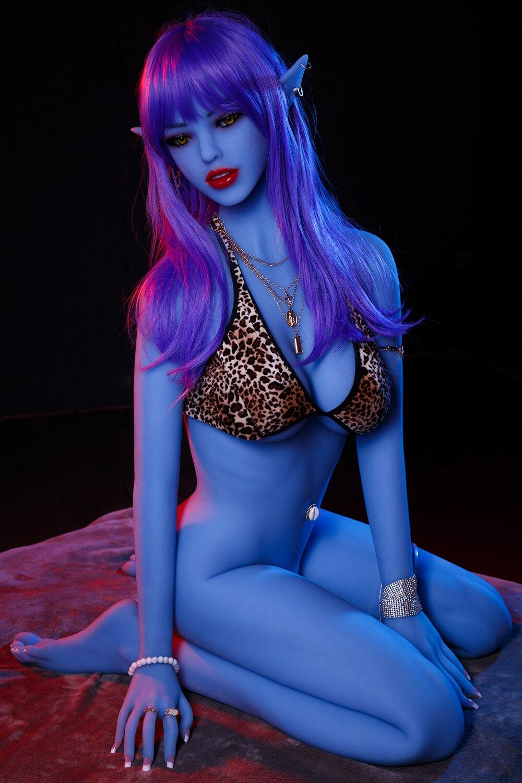 He552174f7b5446e18f6c9dc6744e525cQ AYIREN azul Elf 158cm muñeca del sexo realista de silicona muñeca de amor realista Oral Vaginal Anal adultos juguete sexual de vagina para hombres masturbador