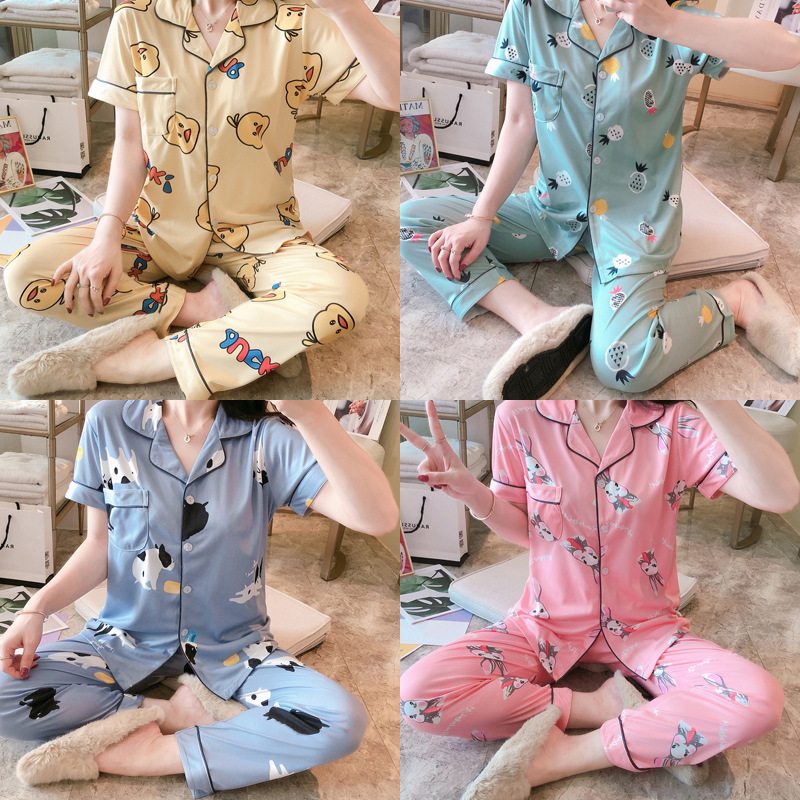 2020 Summer New Style Short Sleeve Pajamas Trousers Qmilch Cartoon Small Yellow Duck Multi--Multi-color Homewear Set