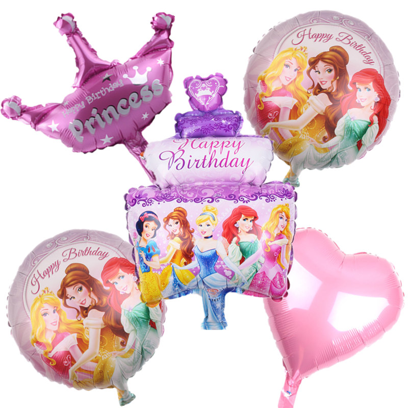 New 5pcs/lot Birthday Cake Princess Balloons Birthday Party Decoration Balloons High Quality Cartoon Hat