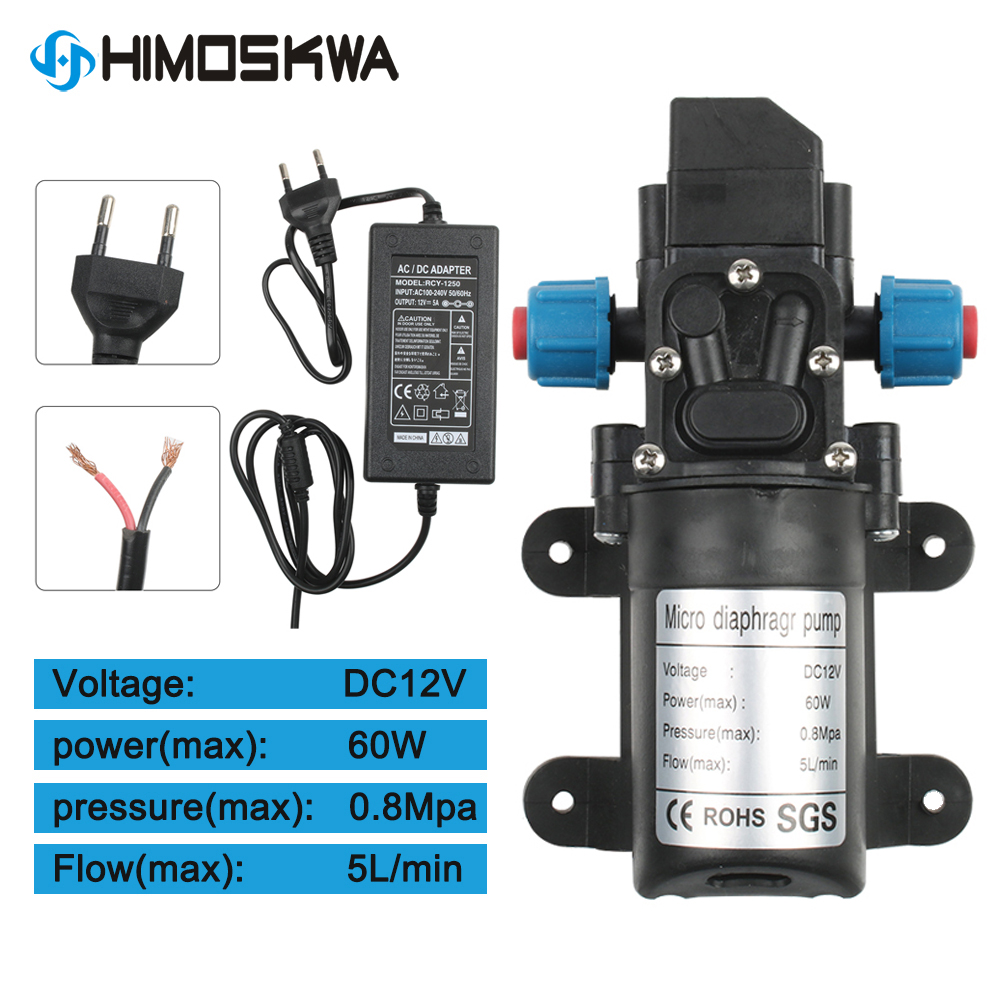 DC 12V 60W 5L/min Agricultural Electric Water Pump Black Micro High Pressure Diaphragm Pump Water Sprayer Car Wash