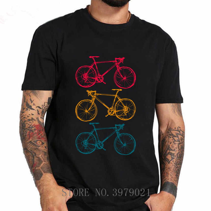 Three Bicycles Doodles Drawing T-Shirts Mens T Shirts Swag Big Size 3XL Men T Shirts Funny Male Hip Hop Tee Shirts