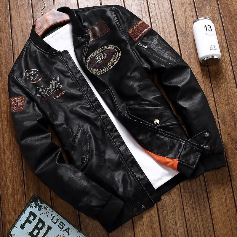 Leather Coat MEN'S Leather Jacket Men's Motorcycle 2019 New Style Men Windproof PU Leather Jacket Men's