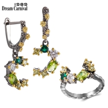 DreamCarnival1989  Top Brand Quality Rings + Earrings Set Wedding Engagement Jewelry Dazzling Green Tone Colors Zircons ER3948S2