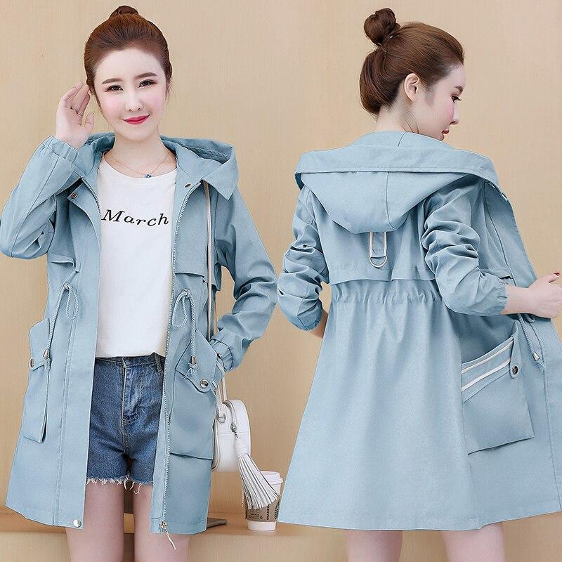 Hot Sale Ladies Windbreaker New 2020 Spring Autumn Korean Hooded Long Women's Trench Coat Female Student Casual Overwear W54