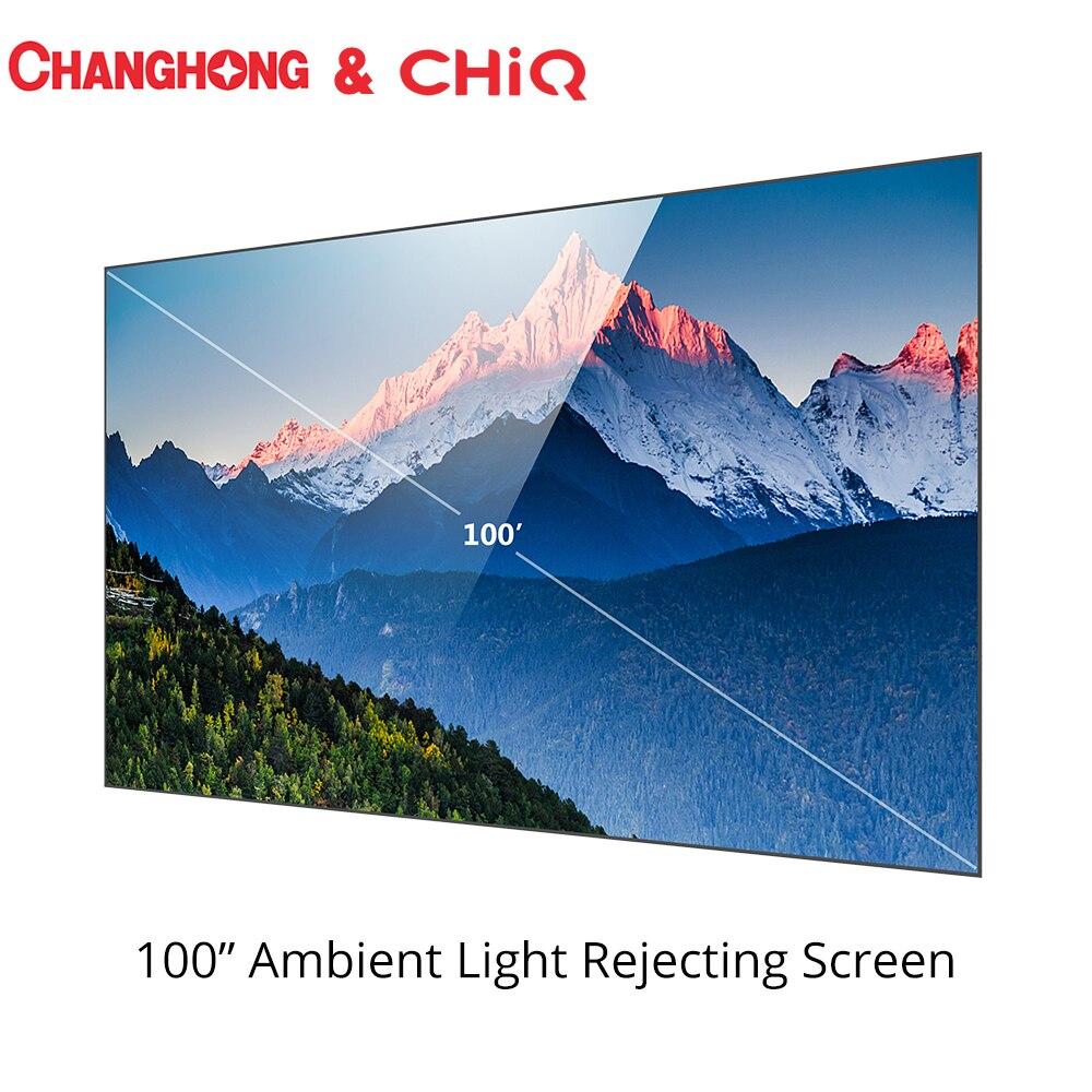 Luz ambiental de 100 pulgadas Changhong CHIQ, pantalla Anti-luz para el proyector, proyector láser