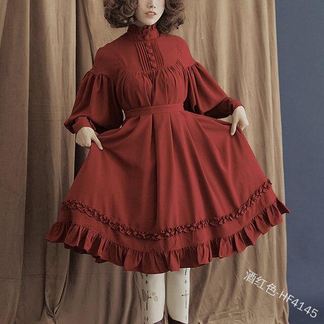 Фото японское милое платье в стиле лолиты винтажное свободное викторианском