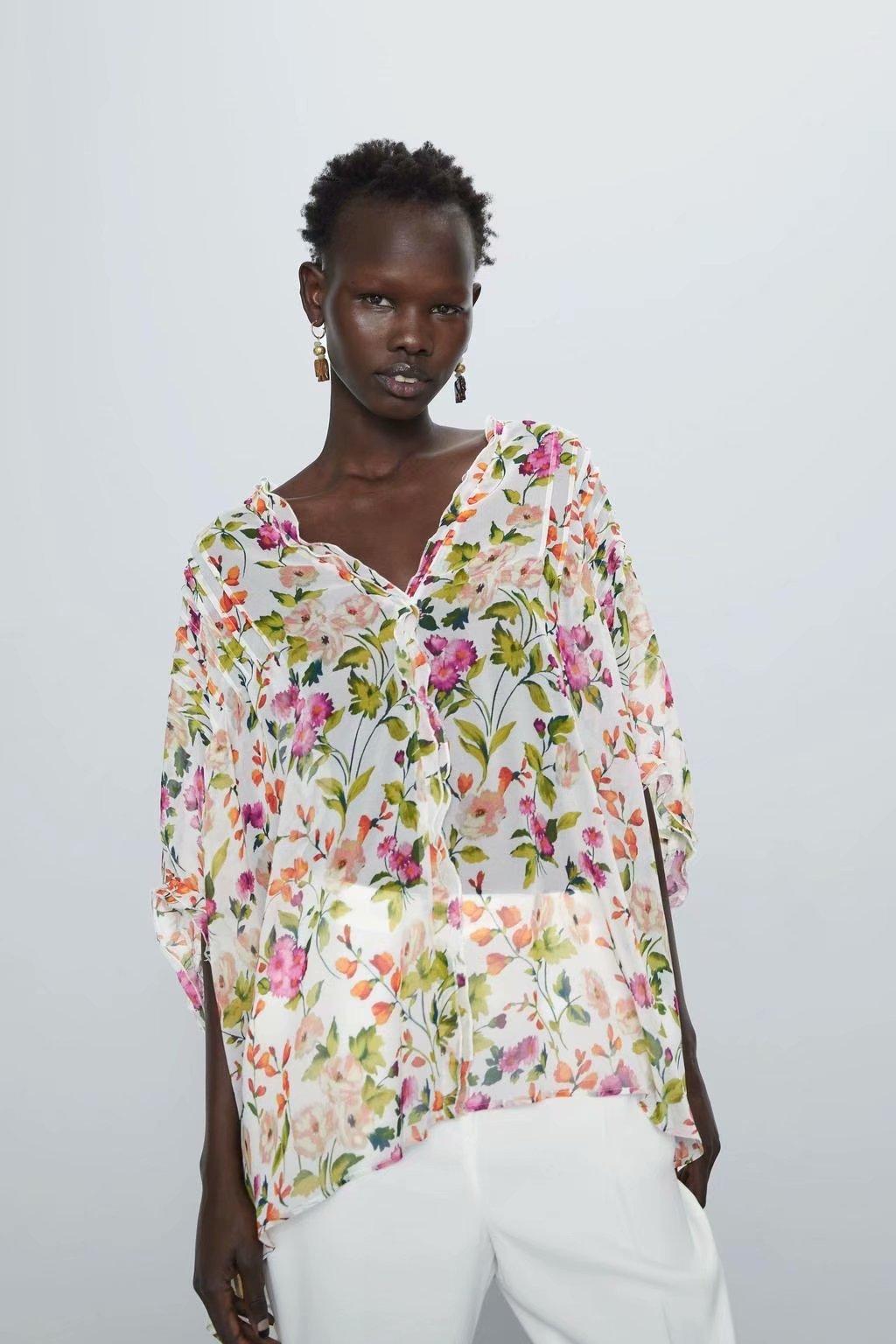 2020 New Spring Summer European Printed Zaraing Women Blouse Shirt Vadiming Sheining Female Shirt Blouse A9704